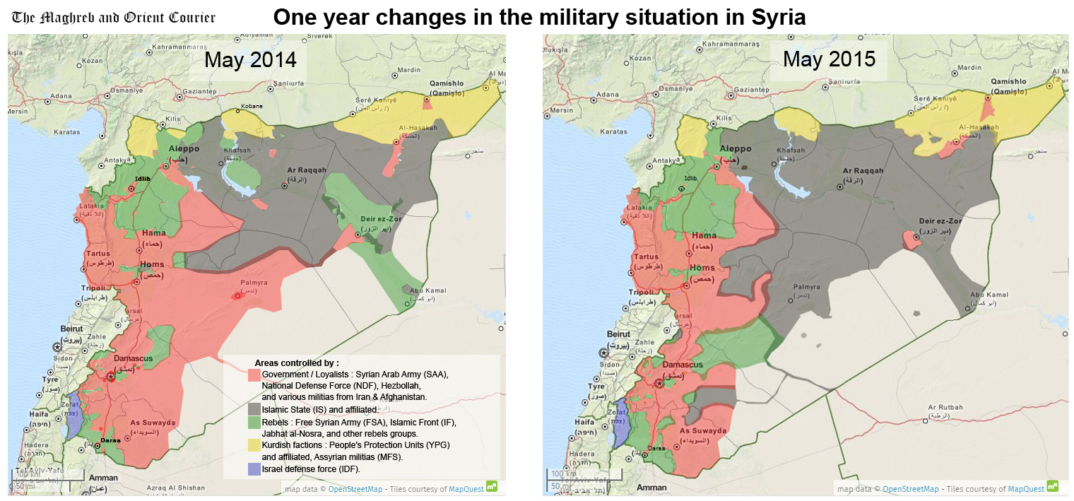 One year changes in the military situation in syria the maghreb arab world maps syria one year changes in the military situation in syria gumiabroncs Choice Image