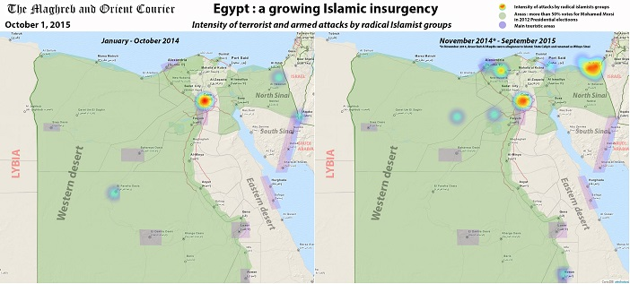 Egypt map islamic insurgency the maghreb and orient courier egypt a growing islamic insurgency gumiabroncs Image collections