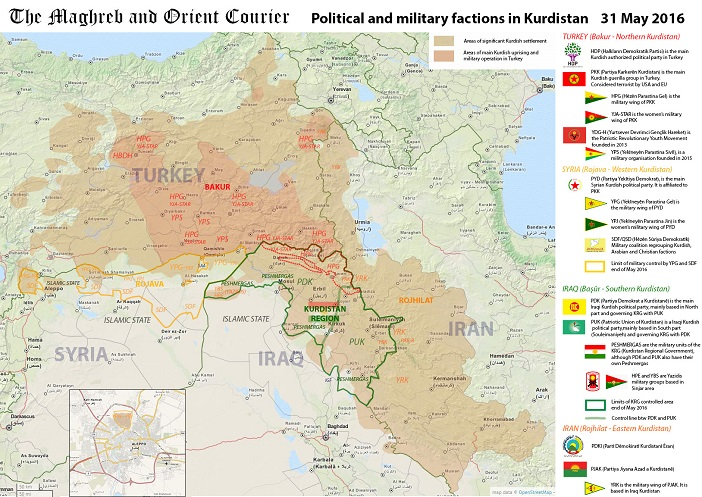arab world map kurdistan political and military factions in kurdistan may 2016